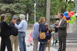 John at the opening of the Ash Street Pocket Park